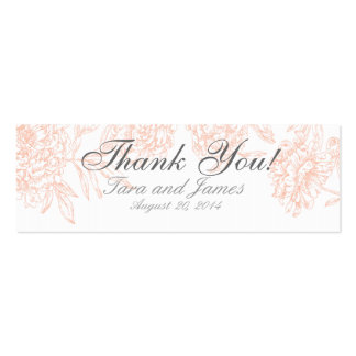 Coral White Vintage Floral Wedding Favor Tags Pack Of Skinny Business Cards