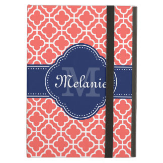 Coral Wht Moroccan Pattern Navy Monogram Case For iPad Air