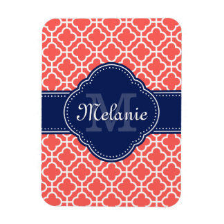 Coral Wht Moroccan Pattern Navy Monogram Magnet