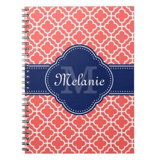 Coral Wht Moroccan Pattern Navy Monogram Notebooks