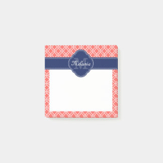 Coral Wht Moroccan Pattern Navy Monogram Post-it Notes