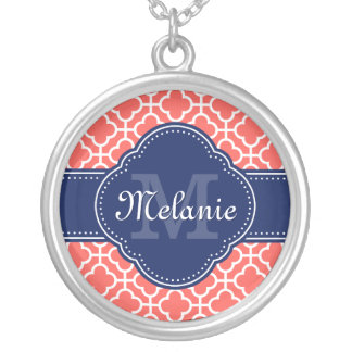 Coral Wht Moroccan Pattern Navy Monogram Silver Plated Necklace