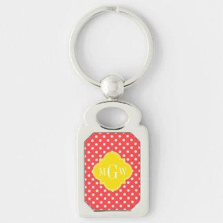 Coral Wht Polka Dots Yellow Quatrefoil 3 Monogram Keychain