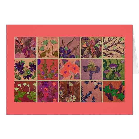 Coral window panes of flowers greeting card