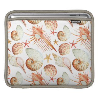 Coral With Shells And Crabs Pattern iPad Sleeves
