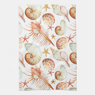 Coral With Shells And Crabs Pattern Kitchen Towels