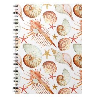 Coral With Shells And Crabs Pattern Note Book