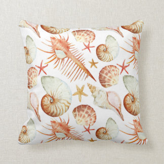 Coral With Shells And Crabs Pattern Throw Pillow