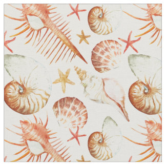 Coral With Shells & Crabs Pattern | Monogram Fabric