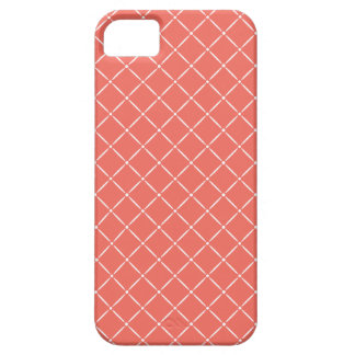 Coral with White Quilted Pattern Case For The iPhone 5