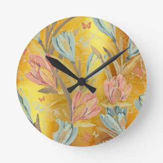 Coral Yellow Gold Sun Floral Coffe Blue Butterfly Wall Clocks