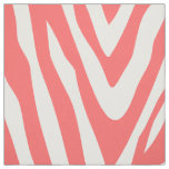 Coral Zebra Print Large Scale Fabric