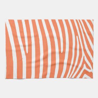 Coral Zebra Stripes Kitchen Towels