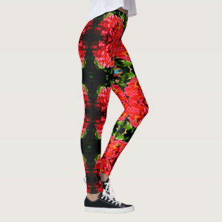 Coral  Zinnia with bumble bee Leggings