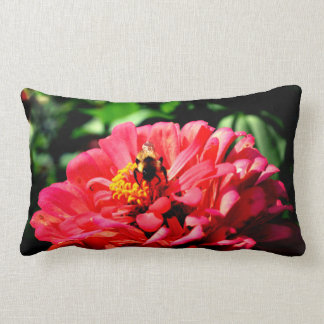 Coral zinnia with bumblebee lumbar pillow