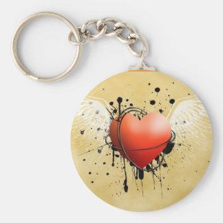 Corazon con alas basic round button keychain