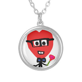 corazon nerd silver plated necklace