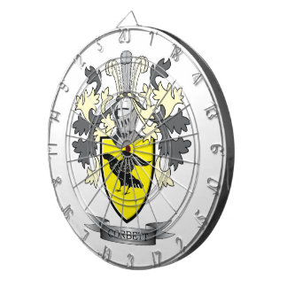 Corbett Family Crest Coat of Arms Dartboard With Darts