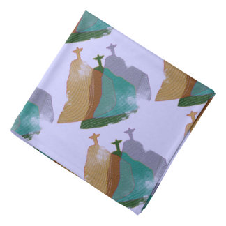 Corcovado brazilian themed pattern bandana