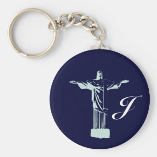 Corcovado - Christ, Rio-Brasil Basic Round Button Keychain