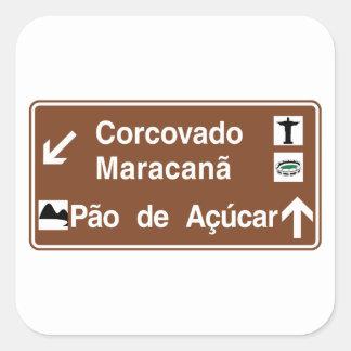 Corcovado/Maracana/Sugarloaf Mt, Brazil Square Sticker