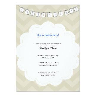 Corde à linge de zigzag invitation de baby shower