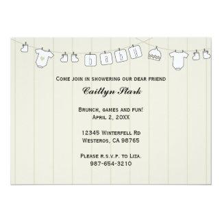 Corde à linge personnaliser de baby shower carton d'invitation  13,97 cm x 19,05 cm