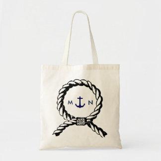 Corde nautique et ancre de bleu marine décorée sac en toile budget