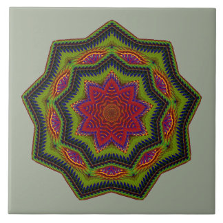 Corded Green And Red Mandala Star Tile