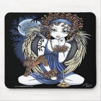 """Cordelia"" Gothic Moon Oil Bird Angel Art Mousepad"