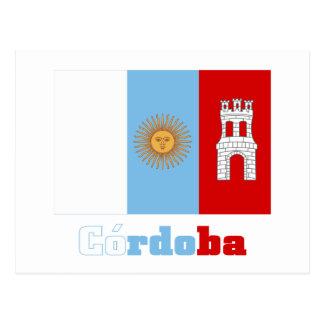 Córdoba flag with name postcard