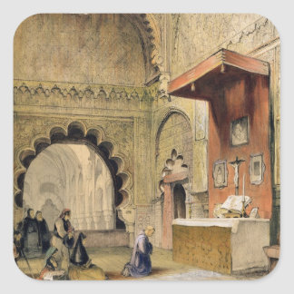 Cordoba: Monk praying at a Christian altar in the Square Sticker