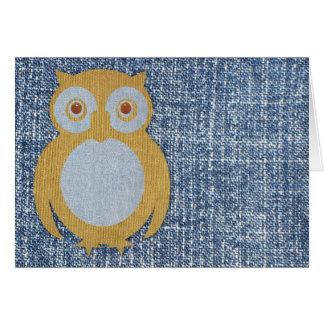 Corduroy Owl on Denim Card