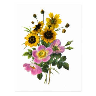 Coreopsis and Rose Hips Redoute Bouquet Postcard