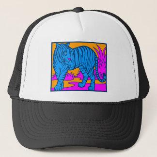 COREY TIGER 1980's RETRO JUNGLE TIGER BLUE Trucker Hat