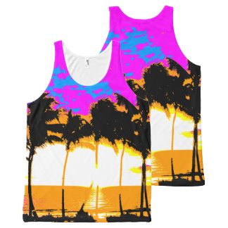 Corey Tiger 80s Palm Trees Beach All-Over-Print Tank Top