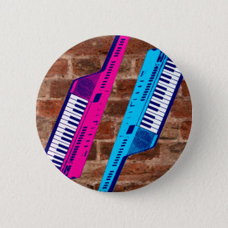 Corey Tiger 80's Retro Keytar Brick Wall 2 Inch Round Button