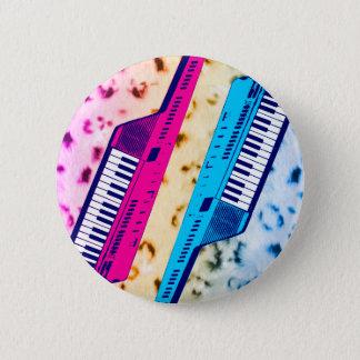 Corey Tiger 80's Retro Keytar Neon Snow Leopard 2 Inch Round Button