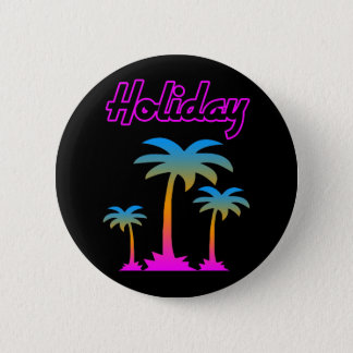 COREY TIGER 80s RETRO PALM TREES HOLIDAY ISLAND 2 Inch Round Button