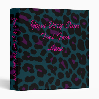 Corey Tiger 80s Retro Style Midnight Leopard Print 3 Ring Binder