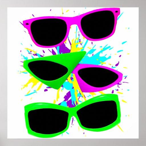 Corey Tiger 80s Vintage Neon Sunglasses Splatter Posters