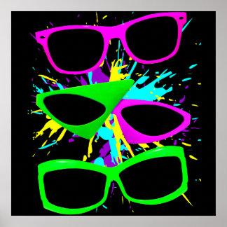 Corey Tiger 80s Vintage Neon Sunglasses Splatter Print