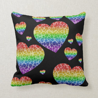 Corey Tiger 80s Vintage Rainbow Valentine Hearts Throw Pillow