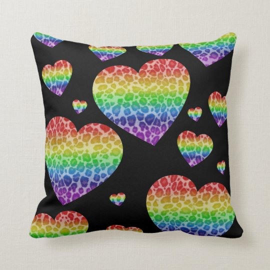 Corey Tiger 80s Vintage Rainbow Valentine Hearts Throw Pillow