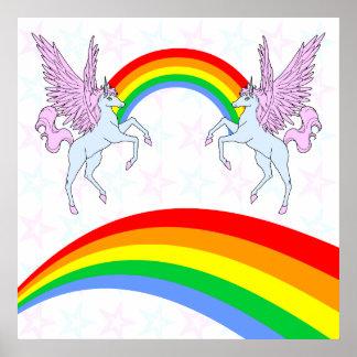 Corey Tiger 80s Vintage Unicorns Rainbows Stars Poster