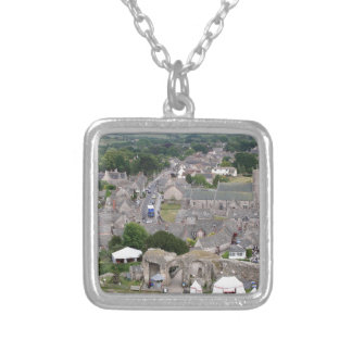 Corfe Castle, Dorset, England Silver Plated Necklace