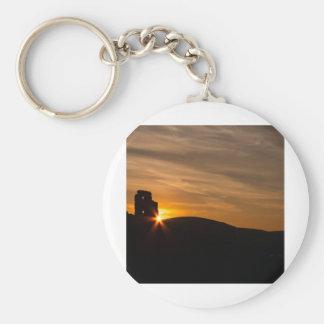 Corfe Castle Sunrise Basic Round Button Keychain