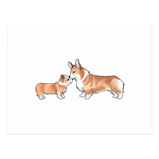 CORGI ADULT AND PUP POSTCARD