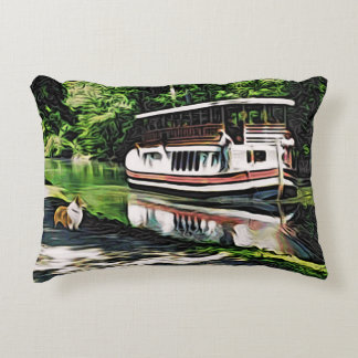 Corgi and Riverboat Accent Pillow