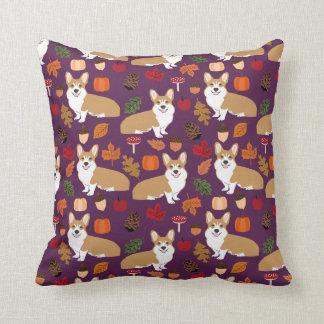 Corgi Autumn Fall pillow tricolored corgi